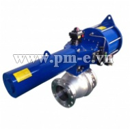 Blue single acting ball valve and accessories