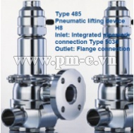 VAN AN TOÀN LESER, Type 485-Pneumatic lifting device H8-Inlet- Integrated pipework-connection Type 5034-Outlet- Flange connection