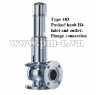 VAN AN TOÀN LESER, Type 483 - Packed knob H4 - Inlet and outlet - Flange connection