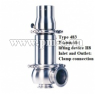VAN AN TOÀN LESER, LESER SAFETY RELEF VALVE, Type 483 - Pneumatic- lifting device H8 - Inlet and outlet - Clamp connection