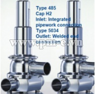 VAN AN TOÀN LESER, Type 485 - Cap H2- Inlet- Integrated pipework connection Type 5034-Outlet-Welded end connection