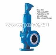 Type 441 Full nozzle DIN - Packed lever H4 - Closed bonnet - Conventional design