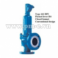 Type 441 DIN - Packed lever H4 - Closed bonnet - Conventional design