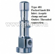 VAN AN TOÀN, Type 481 - Packed knob H4 - Inlet - Aseptic clamp and nut - Outlet- Threaded connection