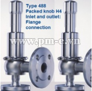 VAN AN TOÀN LESER, Type 488-Packed knob H4-Inlet and outlet-Flange connection