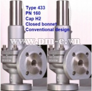 VAN AN TOÀN LESER, Type 433 PN 160 - Cap H2 - Closed bonnet - Conventional design